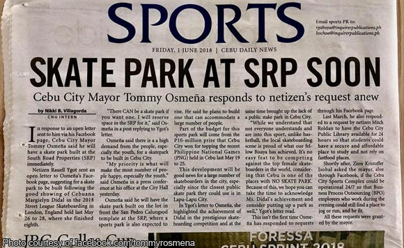 Tommy Osmeña gets sister to pitch for skate park project